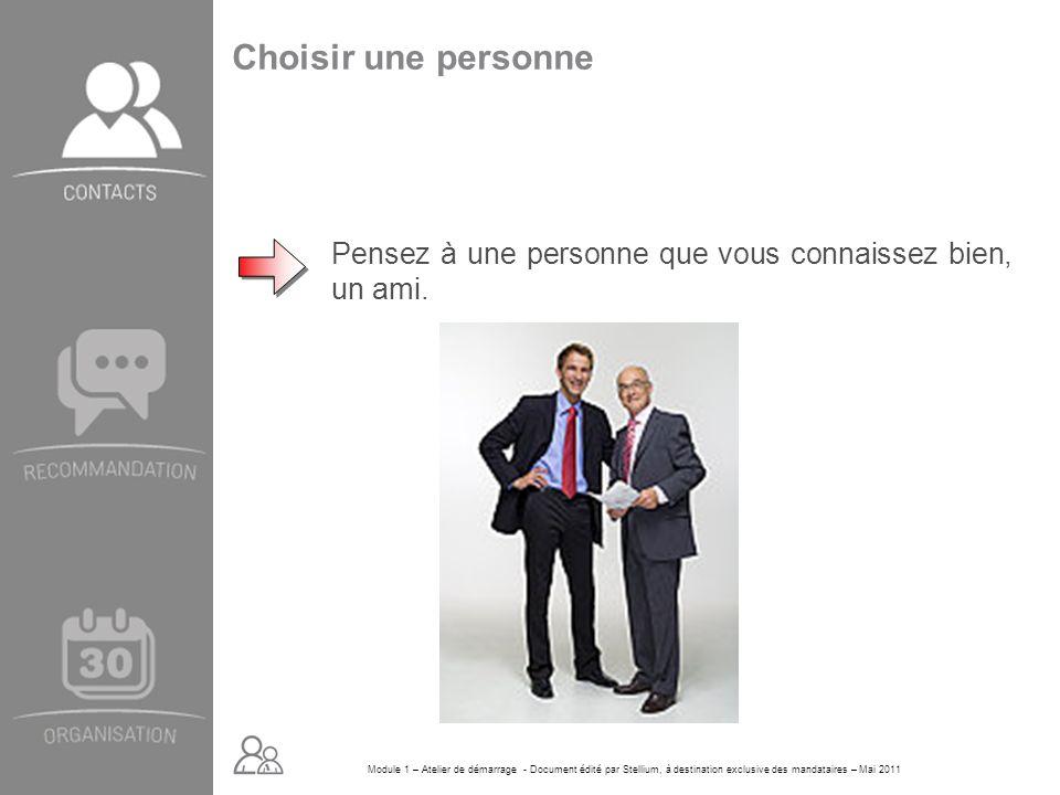 Module 1 – Atelier de démarrage - Document édité par Stellium, à destination exclusive des mandataires – Mai 2011 Choisir une personne Pensez à une pe