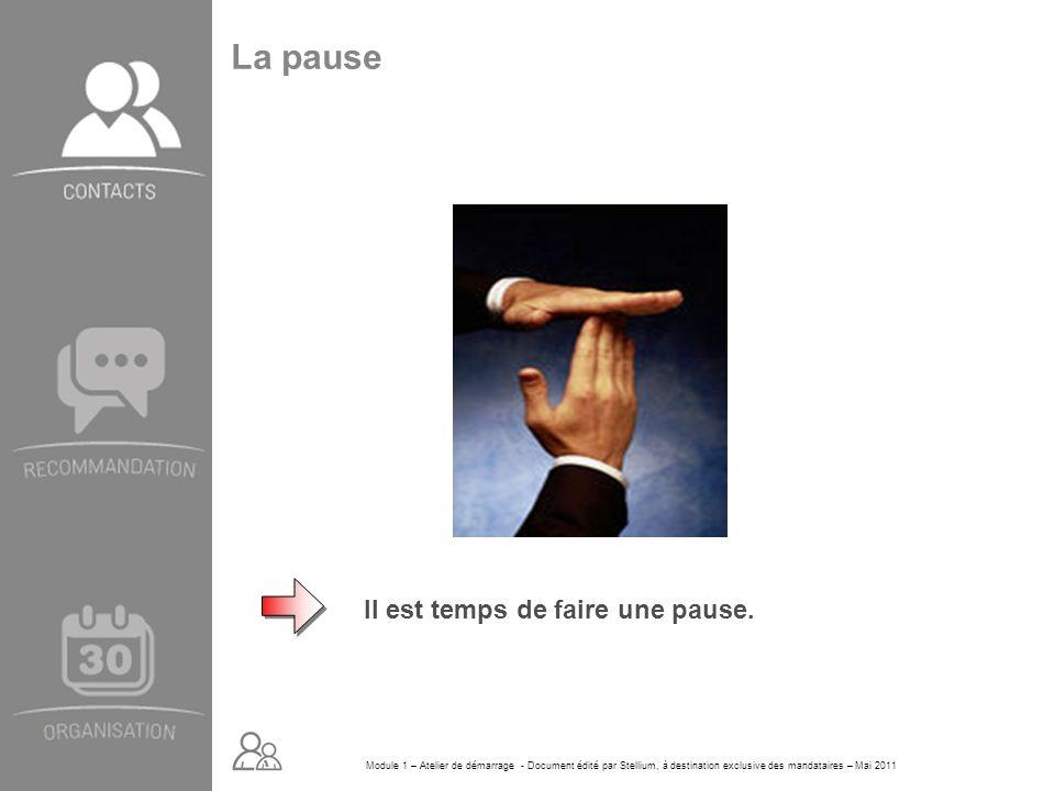 Module 1 – Atelier de démarrage - Document édité par Stellium, à destination exclusive des mandataires – Mai 2011 La pause Il est temps de faire une p