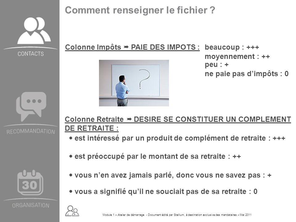 Module 1 – Atelier de démarrage - Document édité par Stellium, à destination exclusive des mandataires – Mai 2011 Comment renseigner le fichier ? Colo