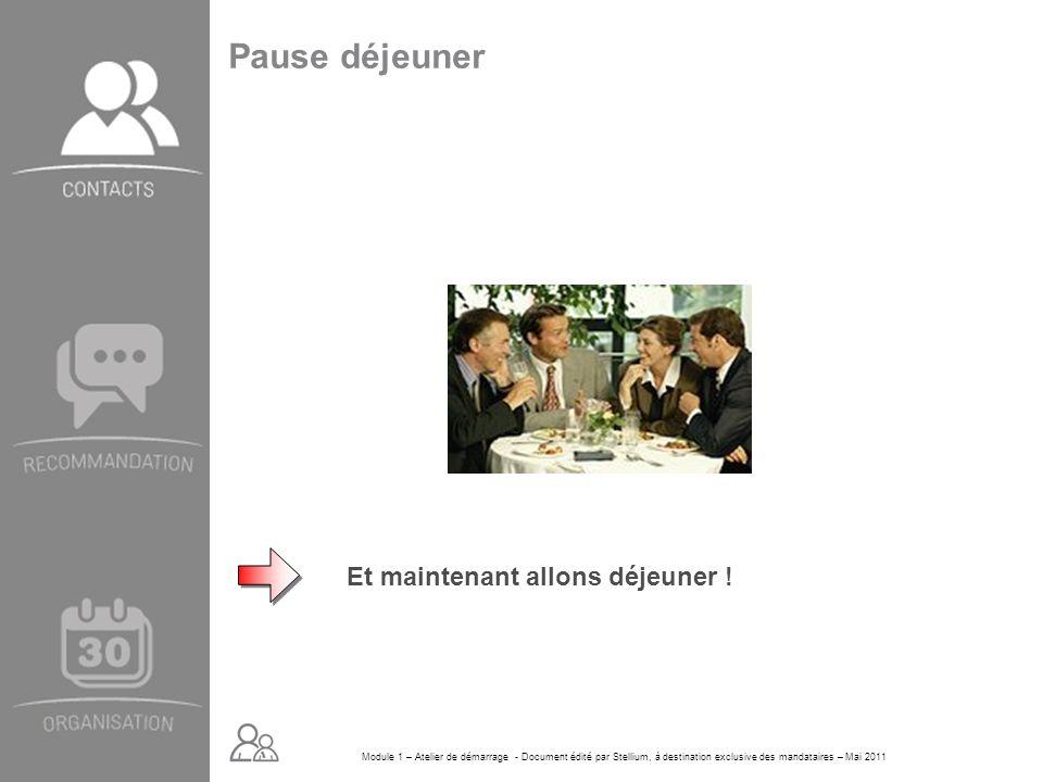 Module 1 – Atelier de démarrage - Document édité par Stellium, à destination exclusive des mandataires – Mai 2011 Pause déjeuner Et maintenant allons