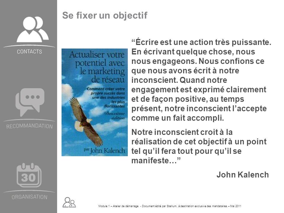 Module 1 – Atelier de démarrage - Document édité par Stellium, à destination exclusive des mandataires – Mai 2011 Se fixer un objectif Écrire est une