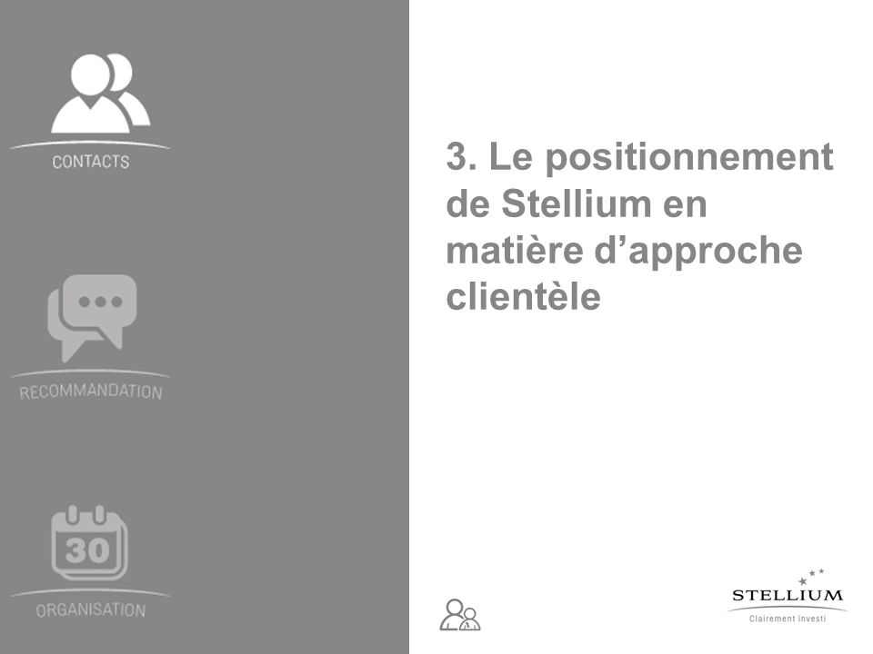 Module 1 – Atelier de démarrage - Document édité par Stellium, à destination exclusive des mandataires – Mai 2011 Pistes de recherche Le principe F.A.C.E.