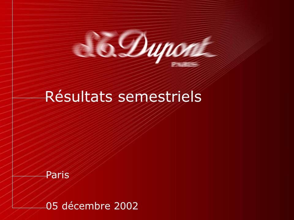 Résultats semestriels Paris 05 décembre 2002