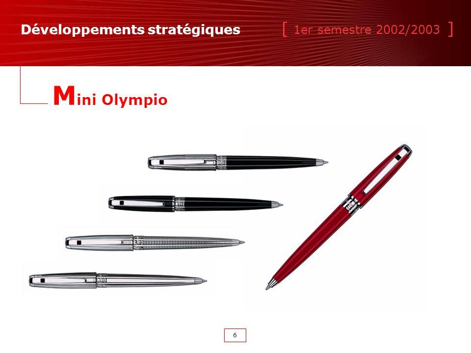 [ 1er semestre 2002/2003 ] 6 M ini Olympio Développements stratégiques