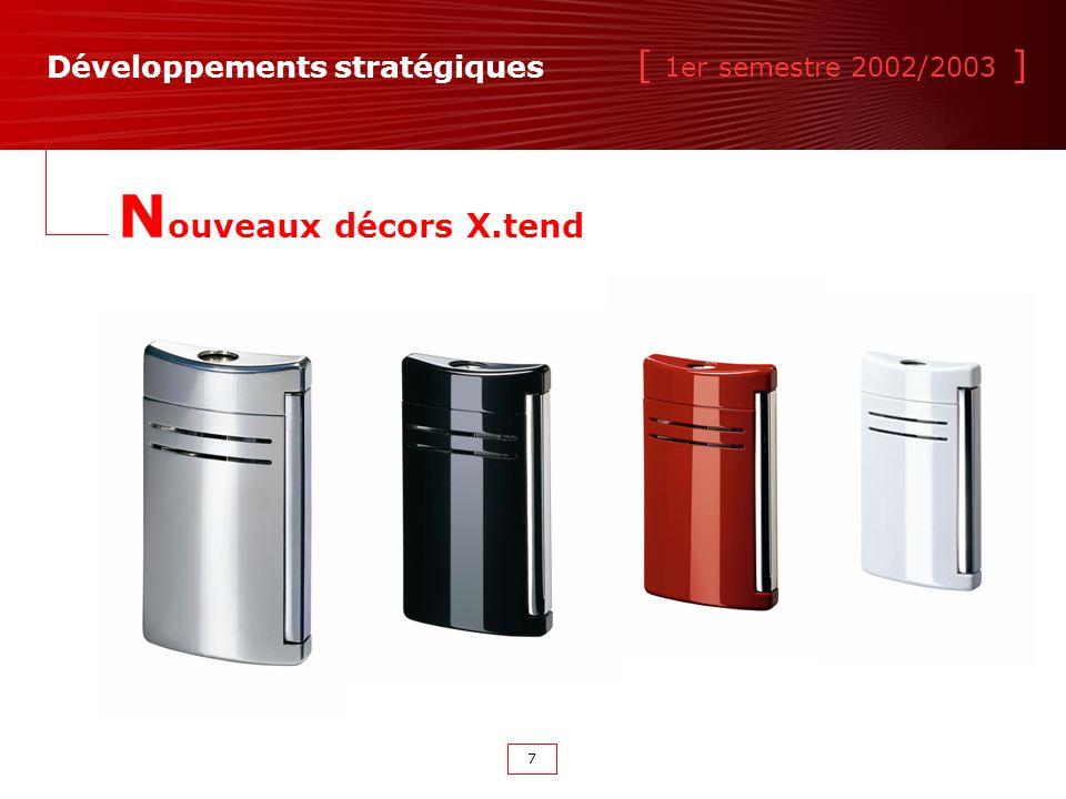 [ 1er semestre 2002/2003 ] 7 Développements stratégiques N ouveaux décors X.tend