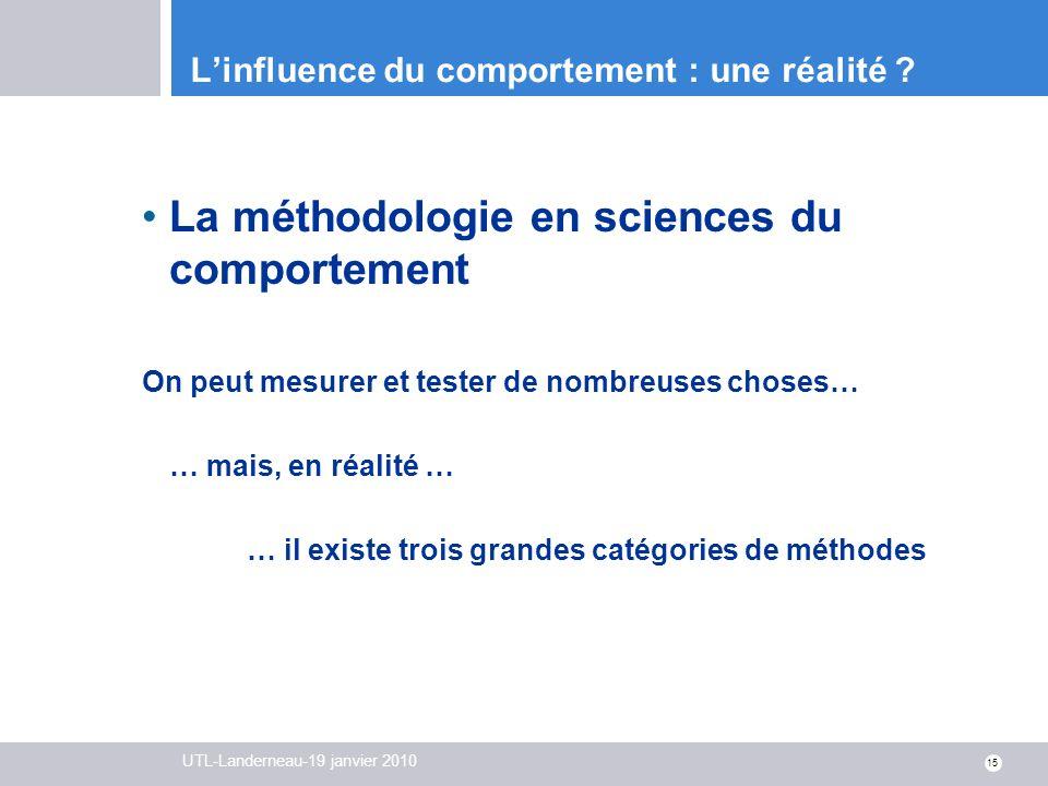 UTL-Landerneau-19 janvier 2010 15 Linfluence du comportement : une réalité ? La méthodologie en sciences du comportement On peut mesurer et tester de