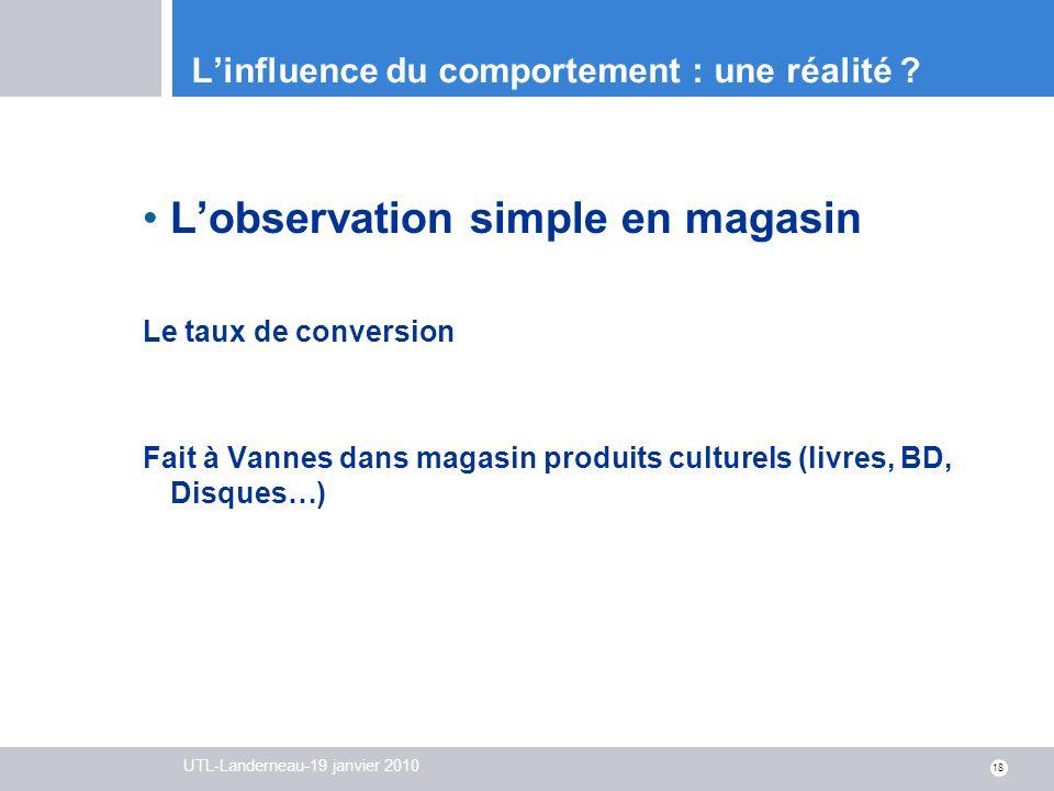 UTL-Landerneau-19 janvier 2010 18 Linfluence du comportement : une réalité ? Lobservation simple en magasin Le taux de conversion Fait à Vannes dans m