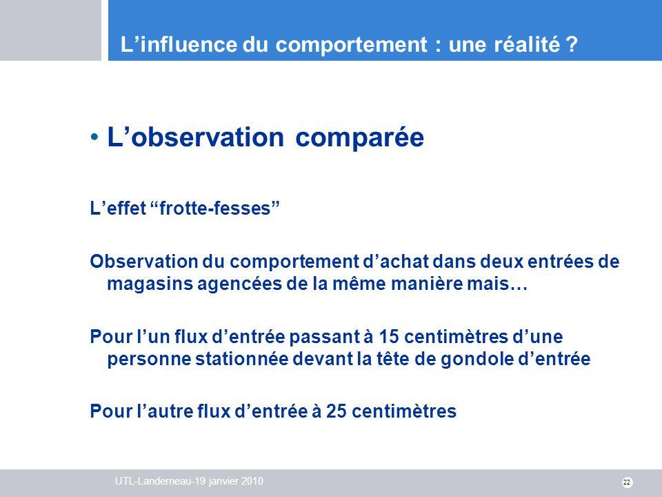 UTL-Landerneau-19 janvier 2010 22 Linfluence du comportement : une réalité ? Lobservation comparée Leffet frotte-fesses Observation du comportement da