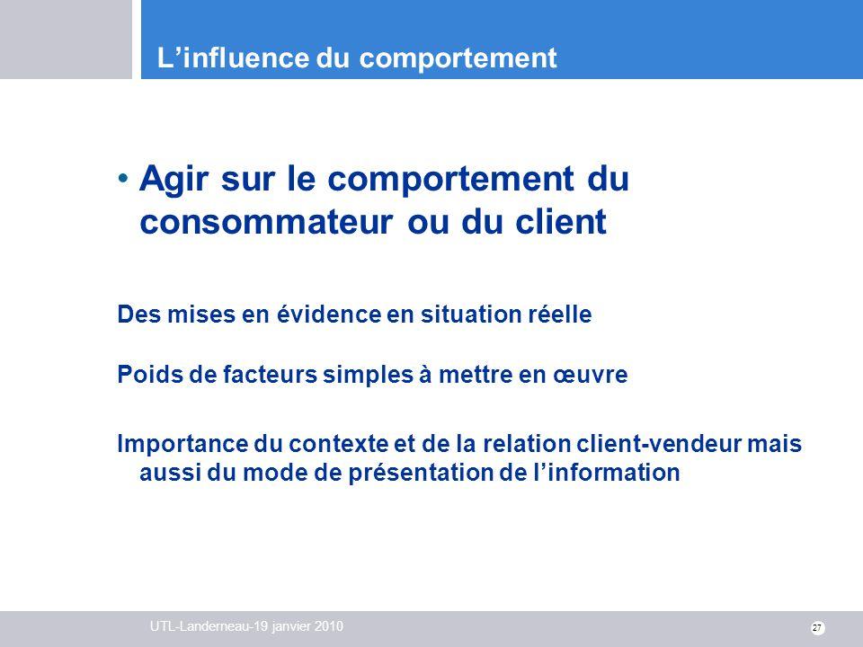 UTL-Landerneau-19 janvier 2010 27 Linfluence du comportement Agir sur le comportement du consommateur ou du client Des mises en évidence en situation
