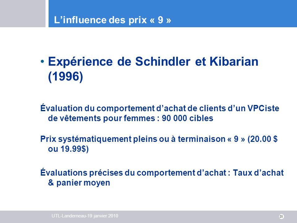 UTL-Landerneau-19 janvier 2010 28 Linfluence des prix « 9 » Expérience de Schindler et Kibarian (1996) Évaluation du comportement dachat de clients du