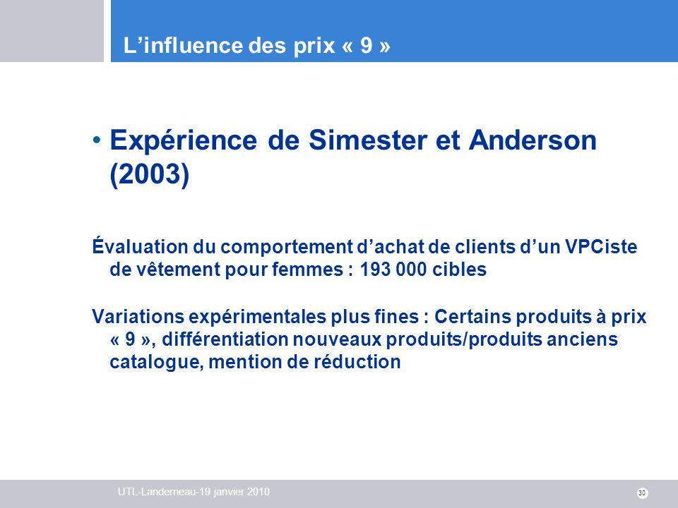 UTL-Landerneau-19 janvier 2010 30 Linfluence des prix « 9 » Expérience de Simester et Anderson (2003) Évaluation du comportement dachat de clients dun