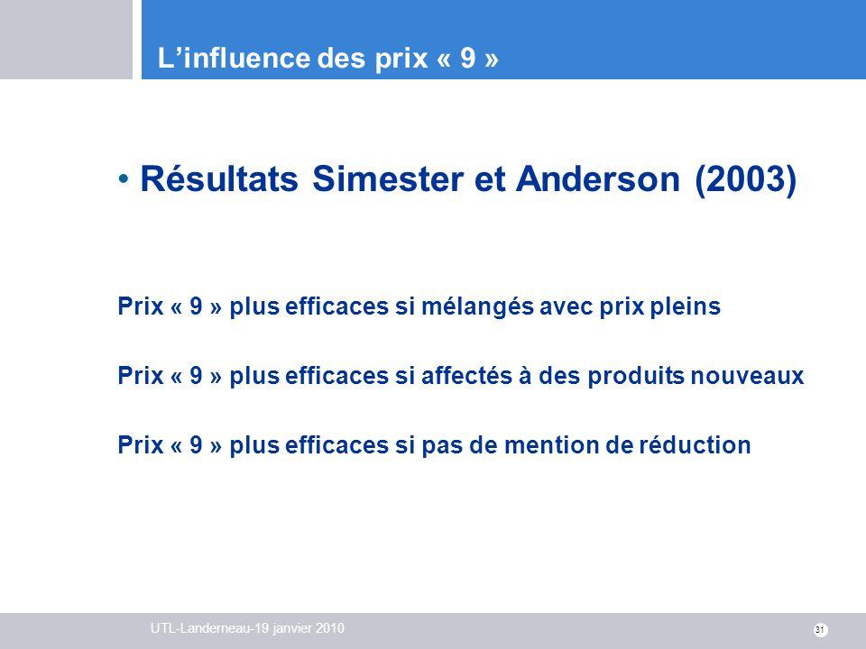 UTL-Landerneau-19 janvier 2010 31 Linfluence des prix « 9 » Résultats Simester et Anderson (2003) Prix « 9 » plus efficaces si mélangés avec prix plei