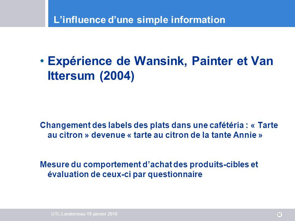 UTL-Landerneau-19 janvier 2010 32 Linfluence dune simple information Expérience de Wansink, Painter et Van Ittersum (2004) Changement des labels des p