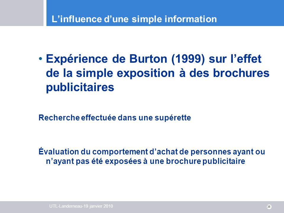 UTL-Landerneau-19 janvier 2010 36 Linfluence dune simple information Expérience de Burton (1999) sur leffet de la simple exposition à des brochures pu