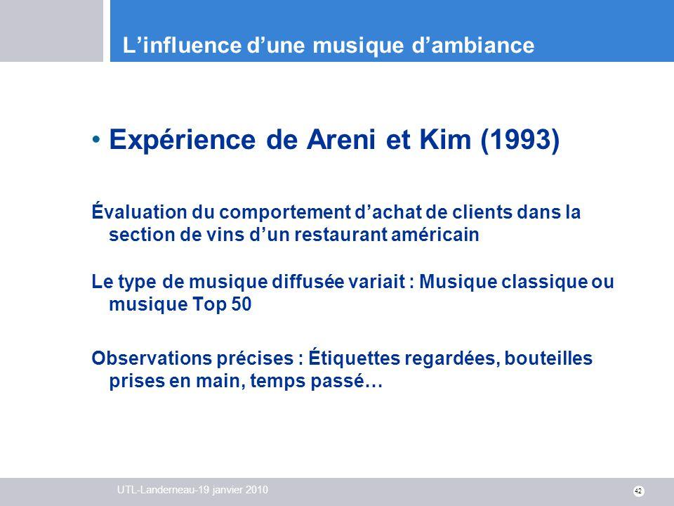 UTL-Landerneau-19 janvier 2010 42 Linfluence dune musique dambiance Expérience de Areni et Kim (1993) Évaluation du comportement dachat de clients dan