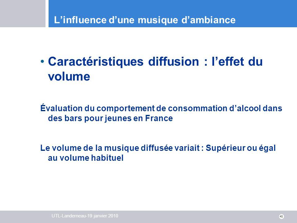 UTL-Landerneau-19 janvier 2010 48 Linfluence dune musique dambiance Caractéristiques diffusion : leffet du volume Évaluation du comportement de consom