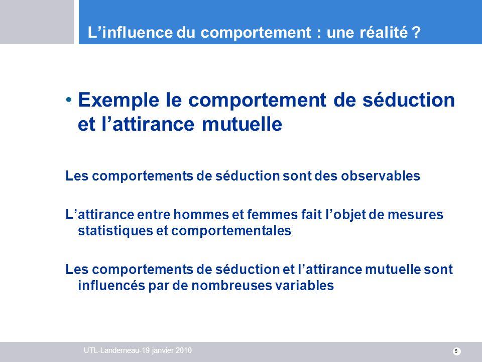 UTL-Landerneau-19 janvier 2010 5 Linfluence du comportement : une réalité ? Exemple le comportement de séduction et lattirance mutuelle Les comporteme