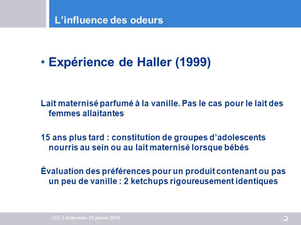 UTL-Landerneau-19 janvier 2010 50 Linfluence des odeurs Expérience de Haller (1999) Lait maternisé parfumé à la vanille. Pas le cas pour le lait des f
