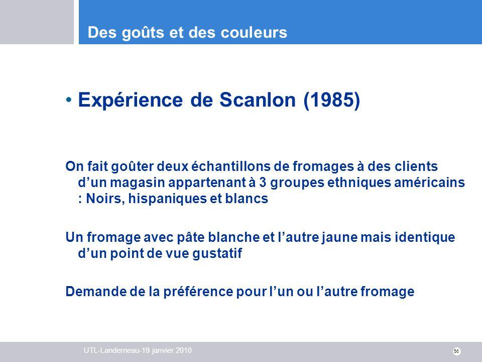 UTL-Landerneau-19 janvier 2010 56 Des goûts et des couleurs Expérience de Scanlon (1985) On fait goûter deux échantillons de fromages à des clients du