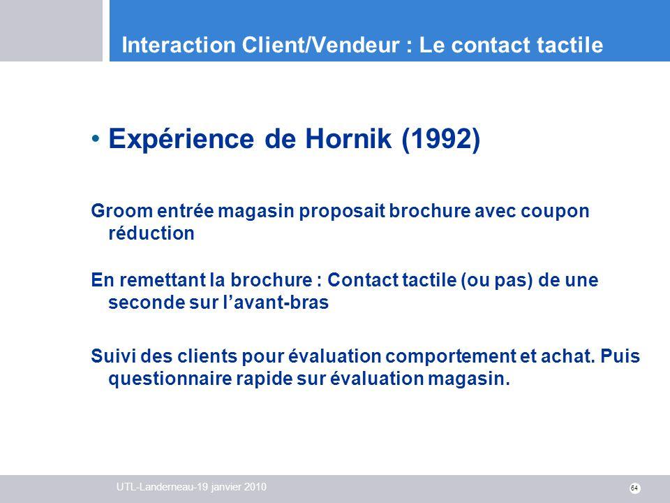 UTL-Landerneau-19 janvier 2010 64 Interaction Client/Vendeur : Le contact tactile Expérience de Hornik (1992) Groom entrée magasin proposait brochure