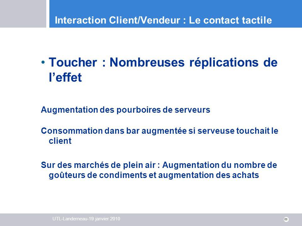 UTL-Landerneau-19 janvier 2010 66 Interaction Client/Vendeur : Le contact tactile Toucher : Nombreuses réplications de leffet Augmentation des pourboi
