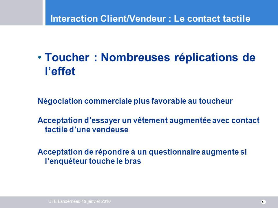 UTL-Landerneau-19 janvier 2010 67 Interaction Client/Vendeur : Le contact tactile Toucher : Nombreuses réplications de leffet Négociation commerciale