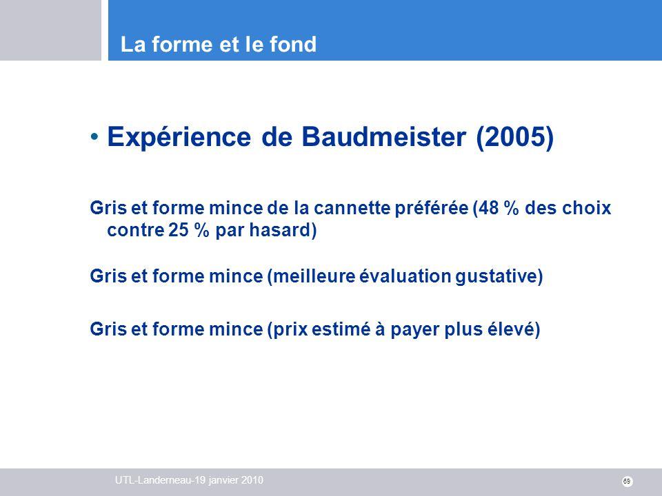 UTL-Landerneau-19 janvier 2010 69 La forme et le fond Expérience de Baudmeister (2005) Gris et forme mince de la cannette préférée (48 % des choix con