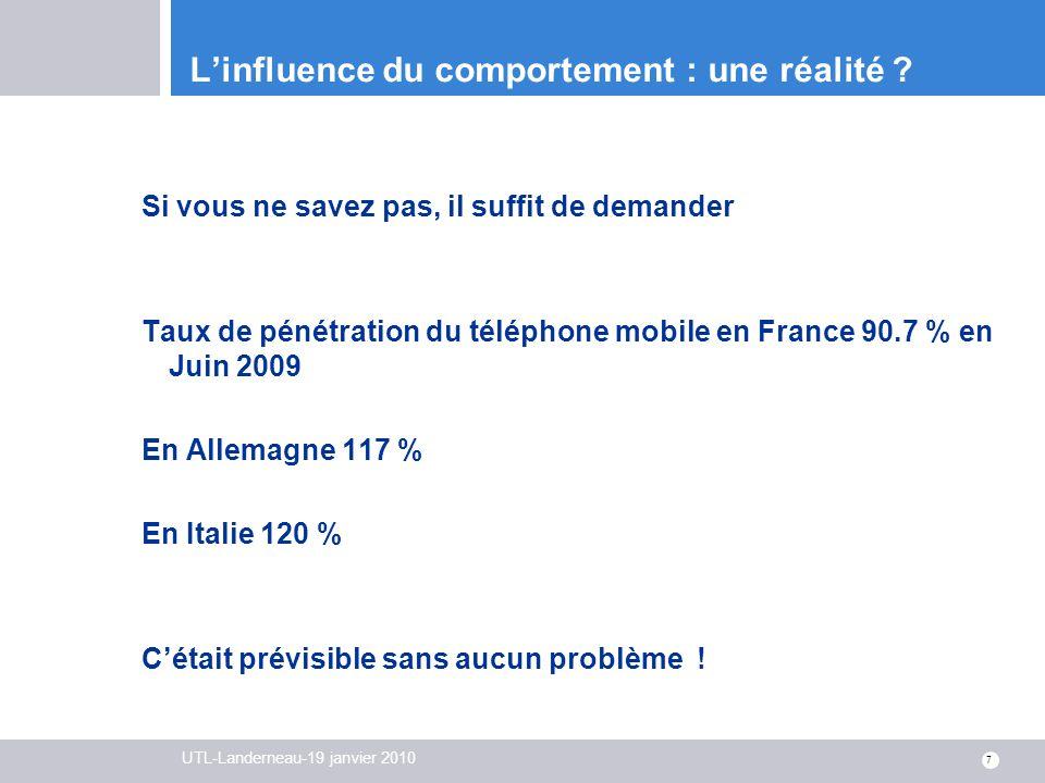 UTL-Landerneau-19 janvier 2010 7 Linfluence du comportement : une réalité ? Si vous ne savez pas, il suffit de demander Taux de pénétration du télépho