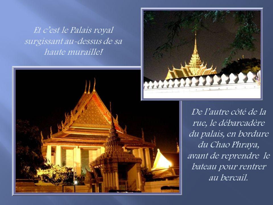 Puis ce sont les chédis du Wat Pho, le temple du Bouddha couché, un peu mystérieux à travers les arbres qui se profilent dans la lumière du soir…
