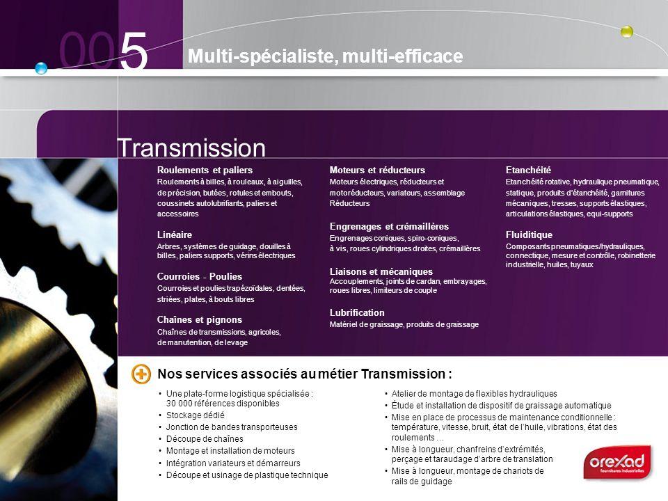 Transmission 5 Multi-spécialiste, multi-efficace Roulements et paliers Roulements à billes, à rouleaux, à aiguilles, de précision, butées, rotules et