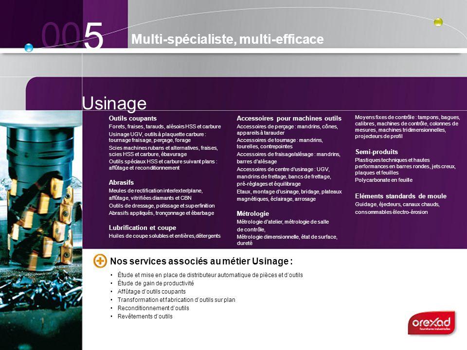 Usinage 5 Multi-spécialiste, multi-efficace Outils coupants Forets, fraises, tarauds, alésoirs HSS et carbure Usinage UGV, outils à plaquette carbure