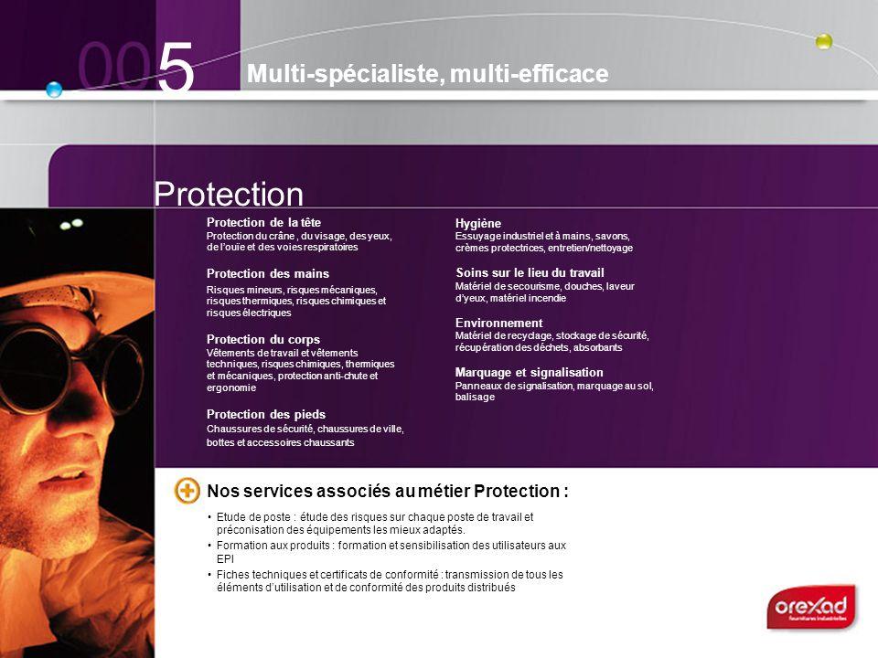 5 Multi-spécialiste, multi-efficace Protection de la tête Protection du crâne, du visage, des yeux, de louïe et des voies respiratoires Protection des