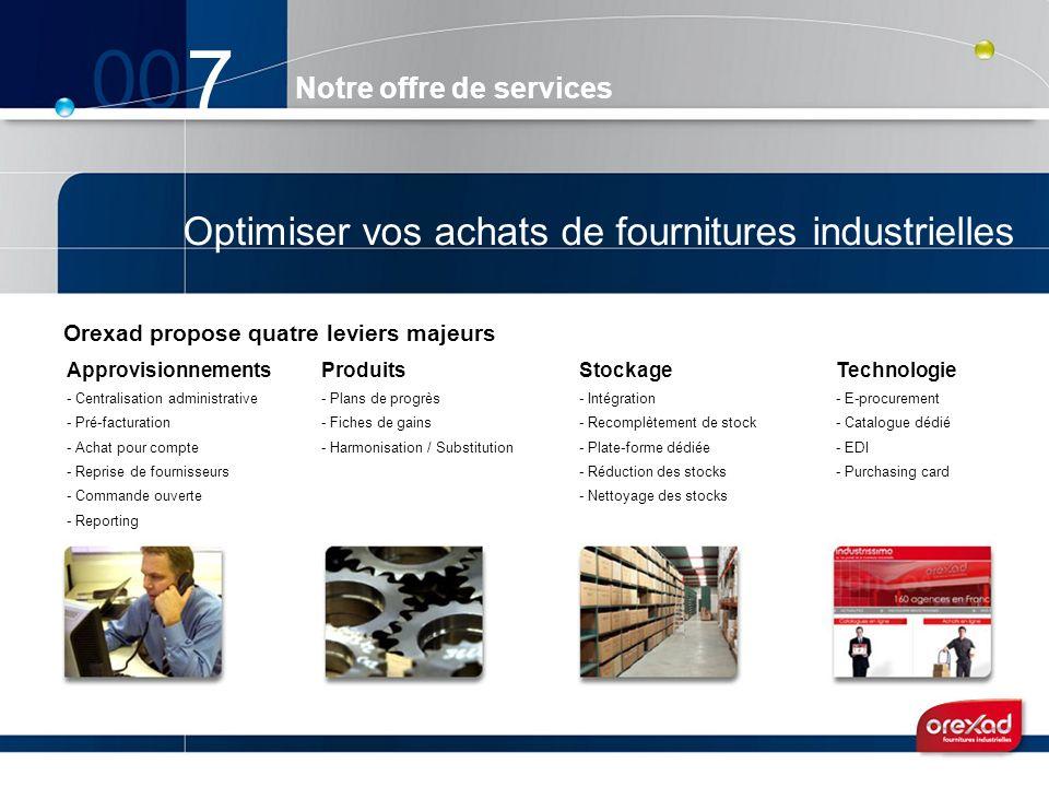 Notre offre de services 7 Optimiser vos achats de fournitures industrielles Orexad propose quatre leviers majeurs Approvisionnements - Centralisation