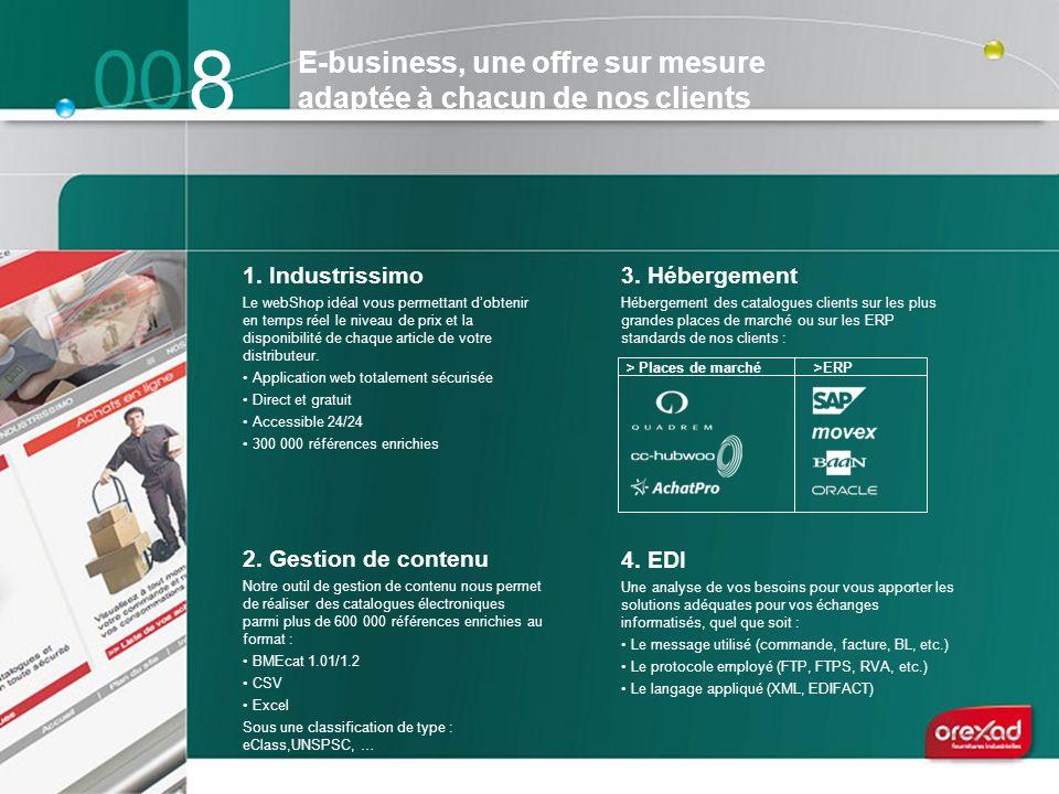 8 1. Industrissimo Le webShop idéal vous permettant dobtenir en temps réel le niveau de prix et la disponibilité de chaque article de votre distribute