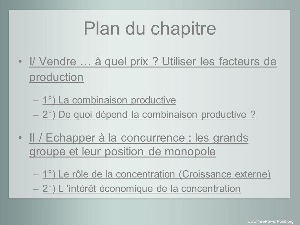 Plan du chapitre I/ Vendre … à quel prix .