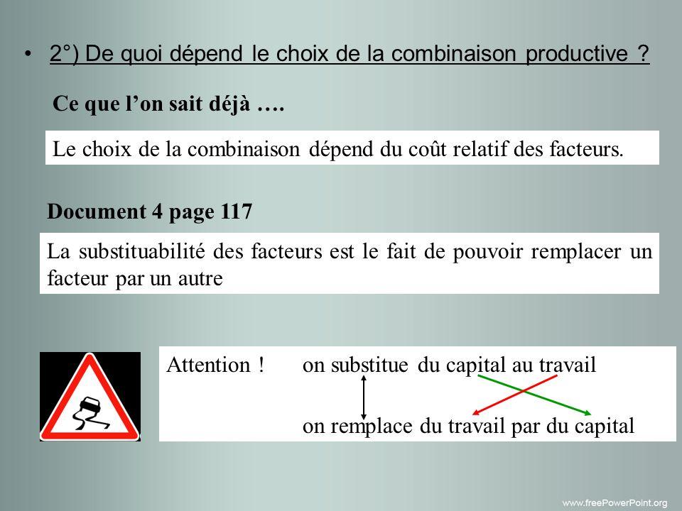 2°) De quoi dépend le choix de la combinaison productive .