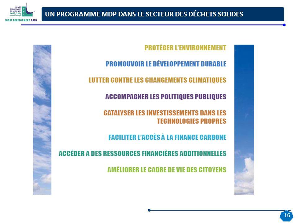 UN PROGRAMME MDP DANS LE SECTEUR DES DÉCHETS SOLIDES 16