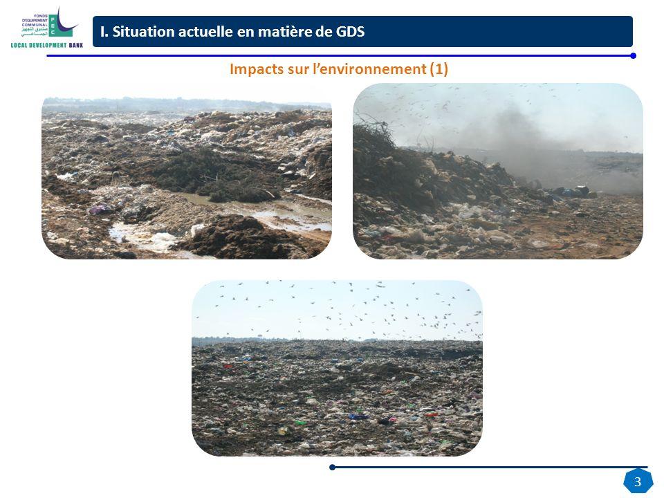 3 Décharge Ain Attig avant réhabilitation Travaux de réhabilitation Décharge Ain Attig I. Situation actuelle en matière de GDS Impacts sur lenvironnem