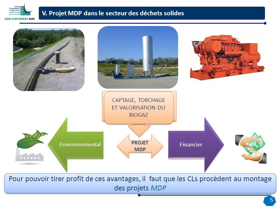 Pour pouvoir tirer profit de ces avantages, il faut que les CLs procèdent au montage des projets MDP Environnemental Financier CAPTAGE, TORCHAGE ET VALORISATION DU BIOGAZ PROJET MDP V.