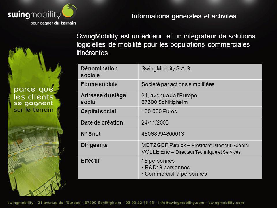 Informations générales et activités SwingMobility est un éditeur et un intégrateur de solutions logicielles de mobilité pour les populations commercia