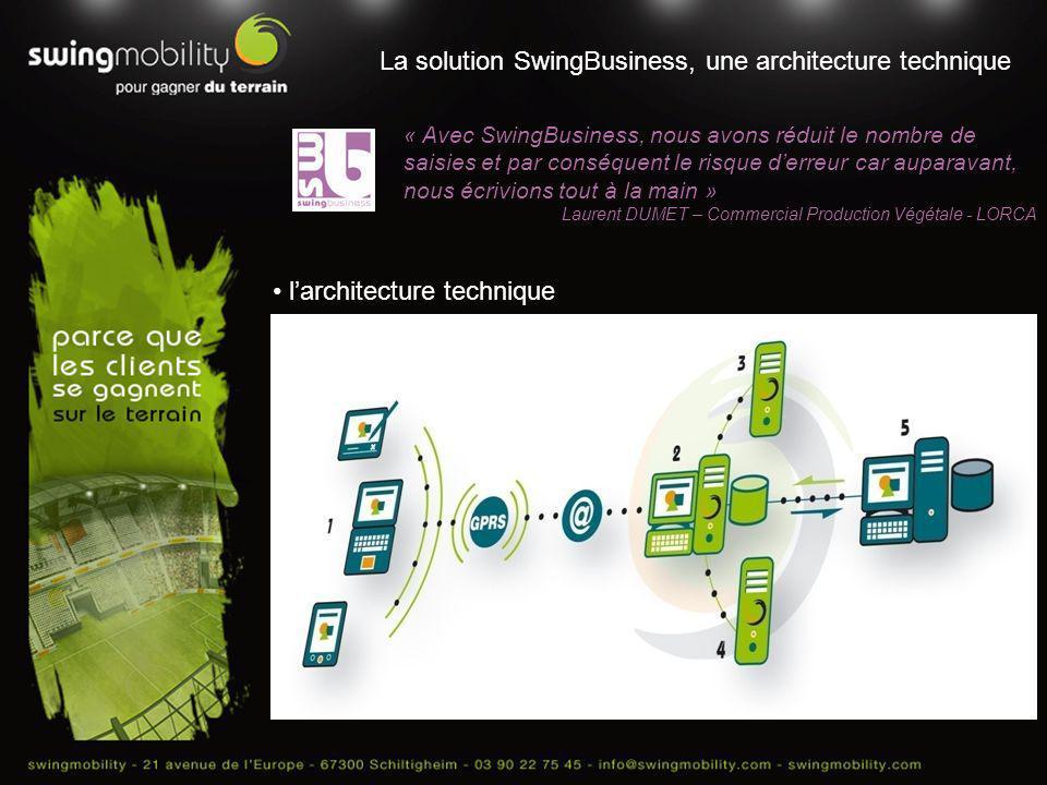 La solution SwingBusiness, une architecture technique « Avec SwingBusiness, nous avons réduit le nombre de saisies et par conséquent le risque derreur
