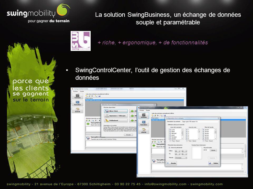 La solution SwingBusiness, un échange de données souple et paramétrable + riche, + ergonomique, + de fonctionnalités SwingControlCenter, loutil de ges