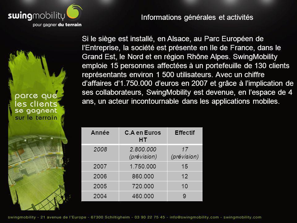 Informations générales et activités Si le siège est installé, en Alsace, au Parc Européen de lEntreprise, la société est présente en Ile de France, da