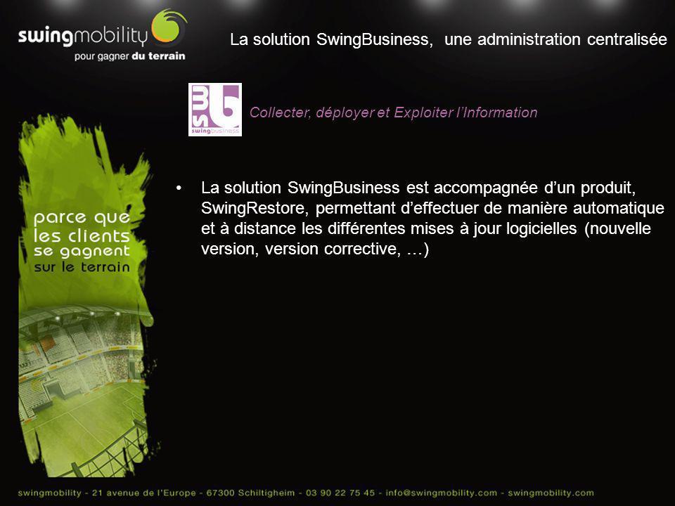 La solution SwingBusiness, une administration centralisée La solution SwingBusiness est accompagnée dun produit, SwingRestore, permettant deffectuer d
