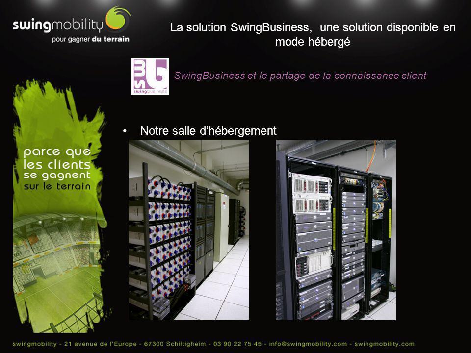 La solution SwingBusiness, une solution disponible en mode hébergé Notre salle dhébergement SwingBusiness et le partage de la connaissance client