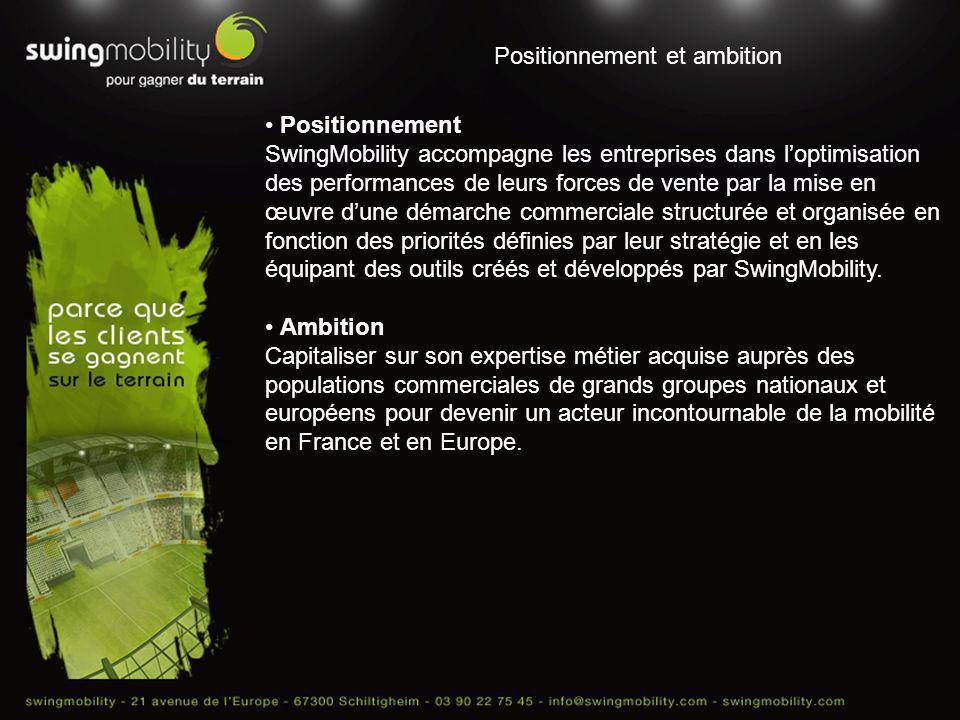 Positionnement et ambition Positionnement SwingMobility accompagne les entreprises dans loptimisation des performances de leurs forces de vente par la