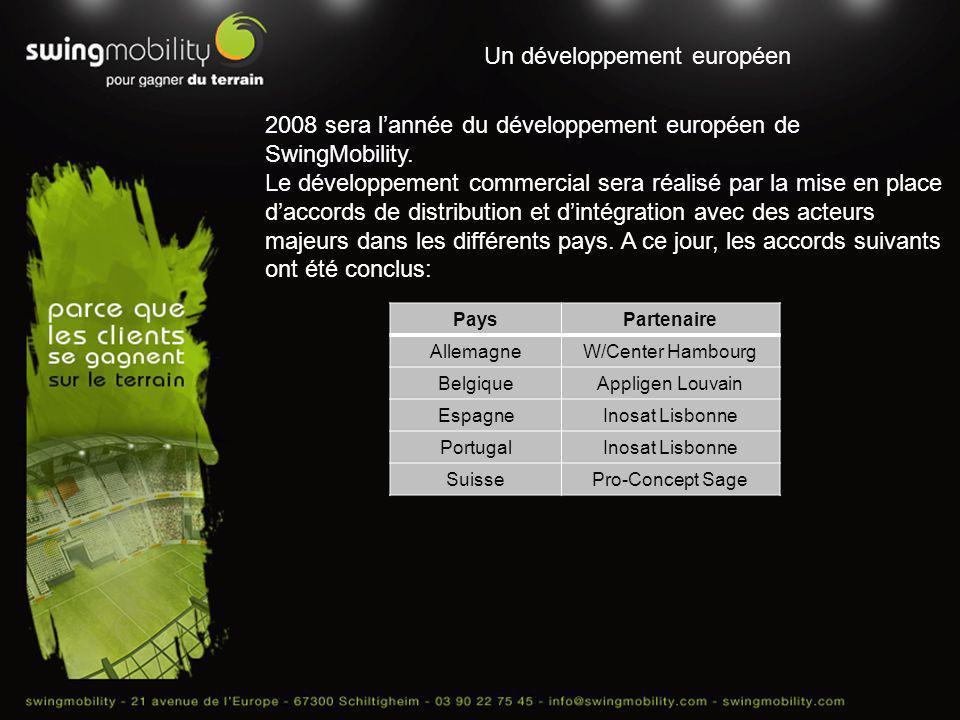 Un développement européen 2008 sera lannée du développement européen de SwingMobility. Le développement commercial sera réalisé par la mise en place d