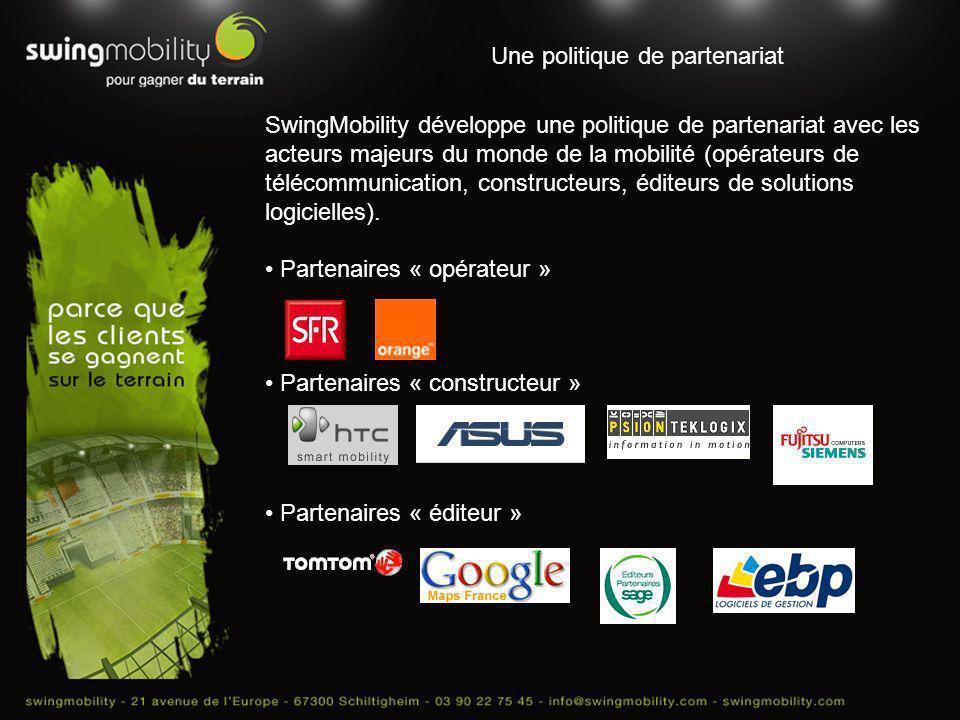 Une politique de partenariat SwingMobility développe une politique de partenariat avec les acteurs majeurs du monde de la mobilité (opérateurs de télé