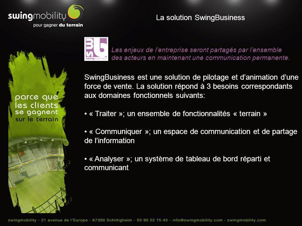 La solution SwingBusiness, une méthodologie de mise en œuvre Un système dinformations global et adapté aux utilisateurs communiquant internes et terrain.