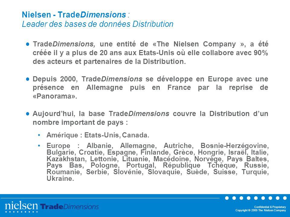 Confidential & Proprietary Copyright © 2009 The Nielsen Company Nielsen - TradeDimensions : La base de données internationale de la Distribution Son concept : « Une » mise en commun de lexpertise de chaque pays.